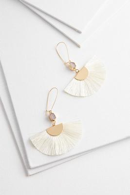 fanned fringe druzy earrings
