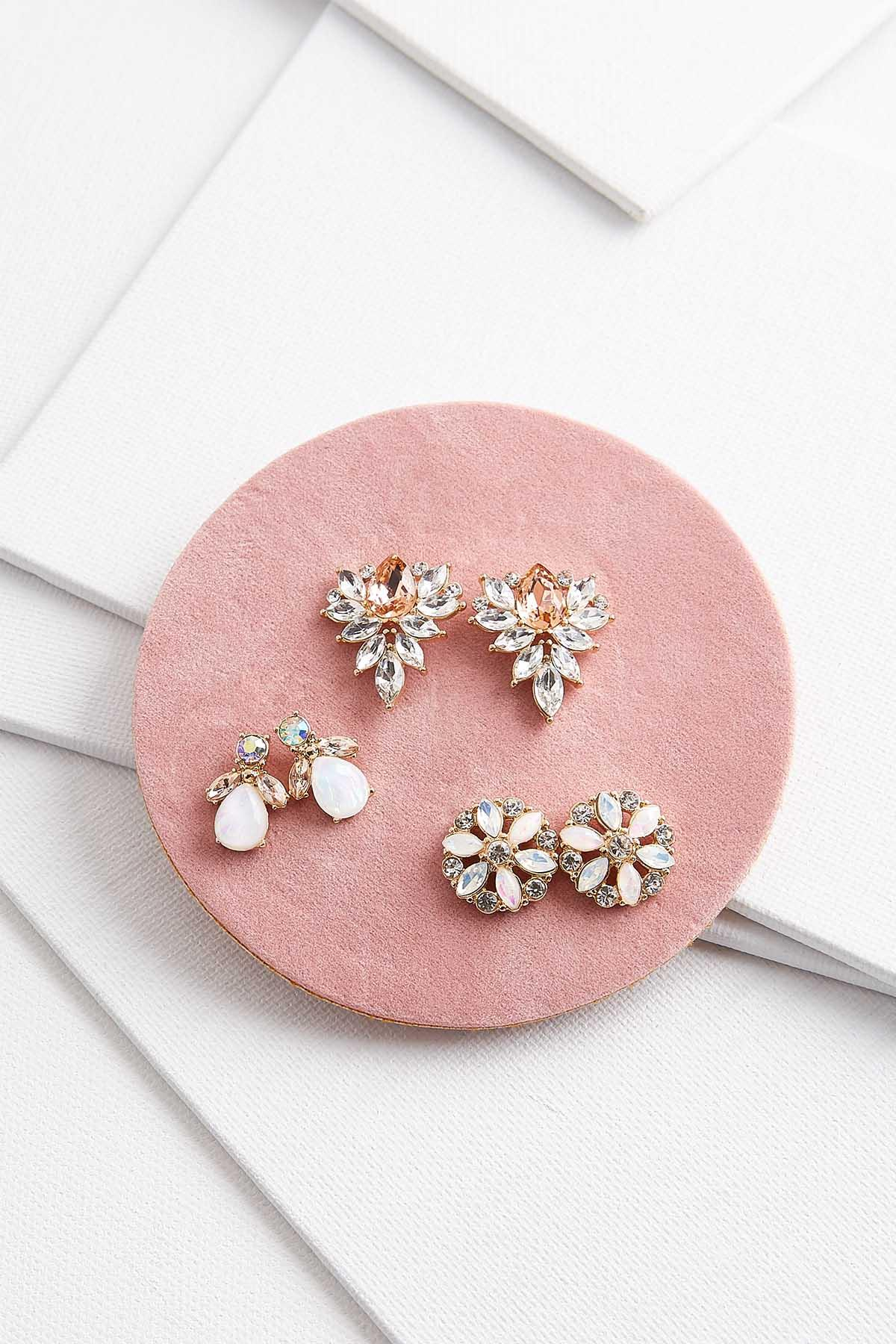 Sparkly Floral Button Earring Set