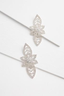 glitzy floral statement earrings