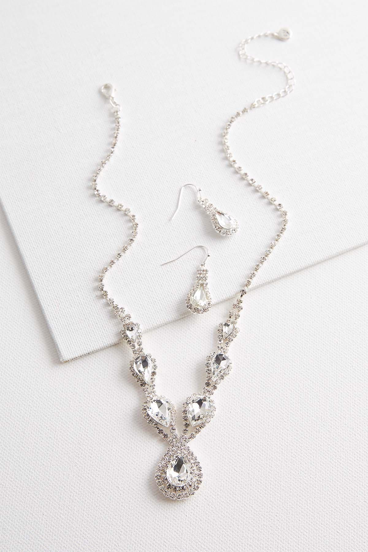 Tear Shaped Rhinestone Necklace Set
