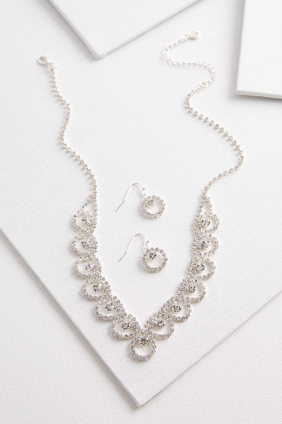 Glam Rhinestone Necklace And Earring Set