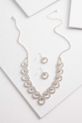 glam rhinestone necklace and earring set