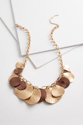clustered hammered disk necklace