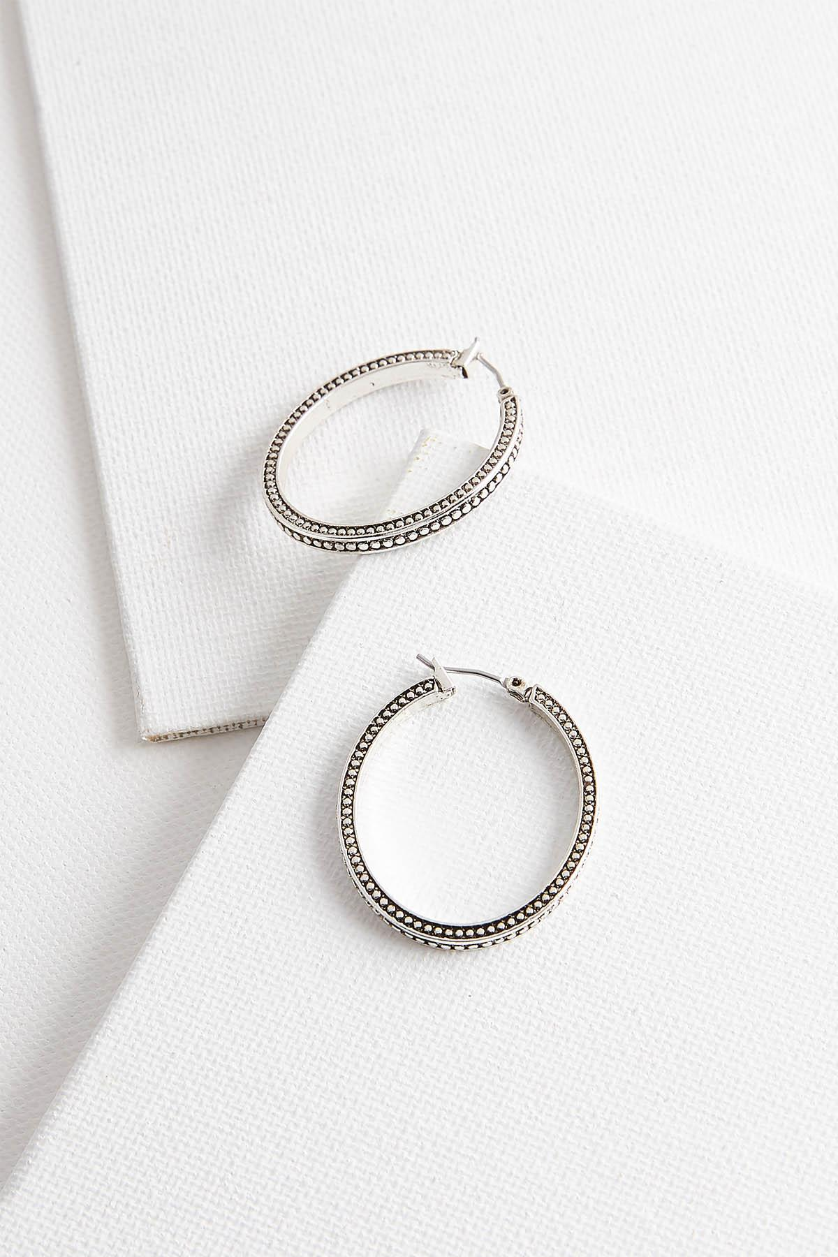 Textured Antique Silver Hoops