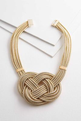 metallic knot bib necklace