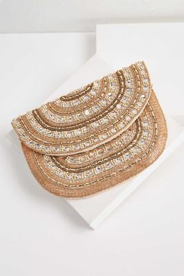 champagne beaded clutch