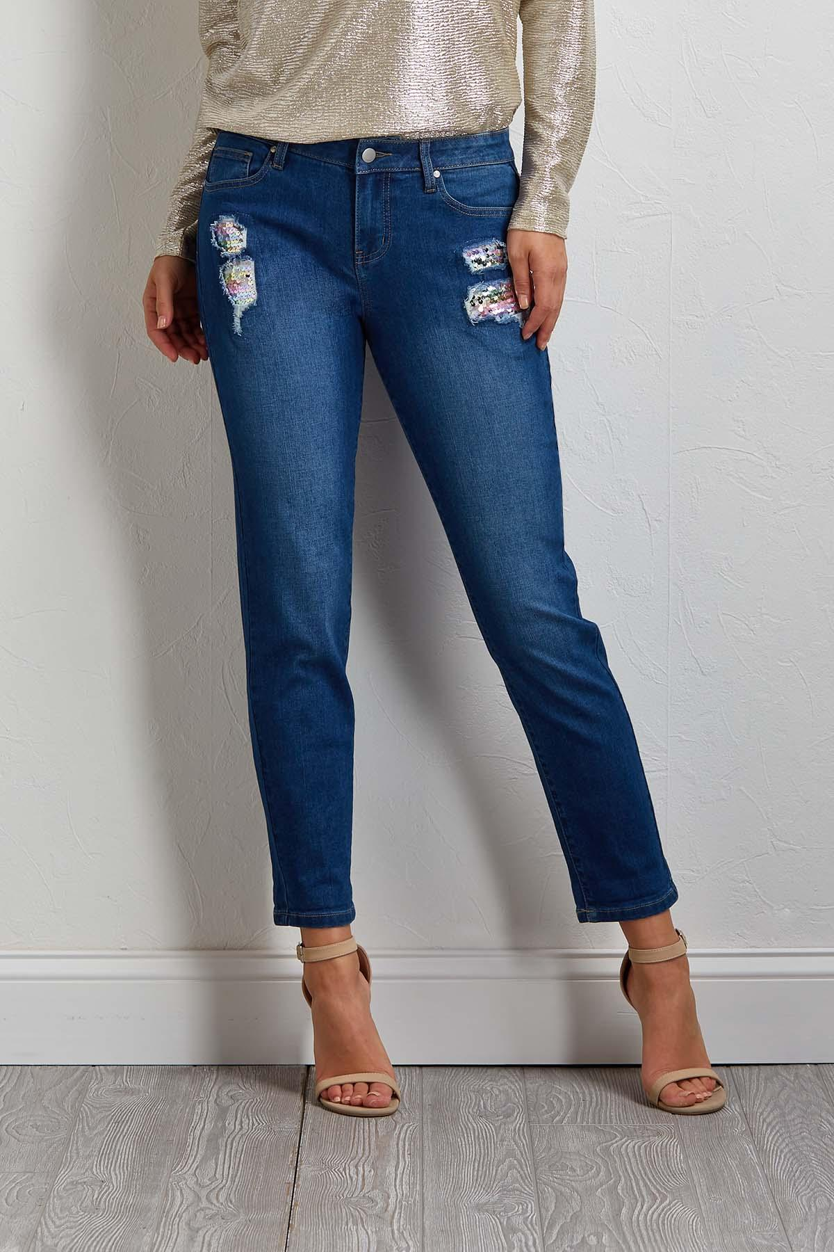 Distressed Sequin Girlfriend Jeans