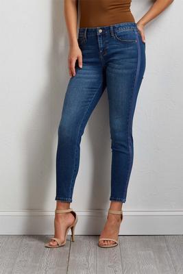 satin trim skinny jeans