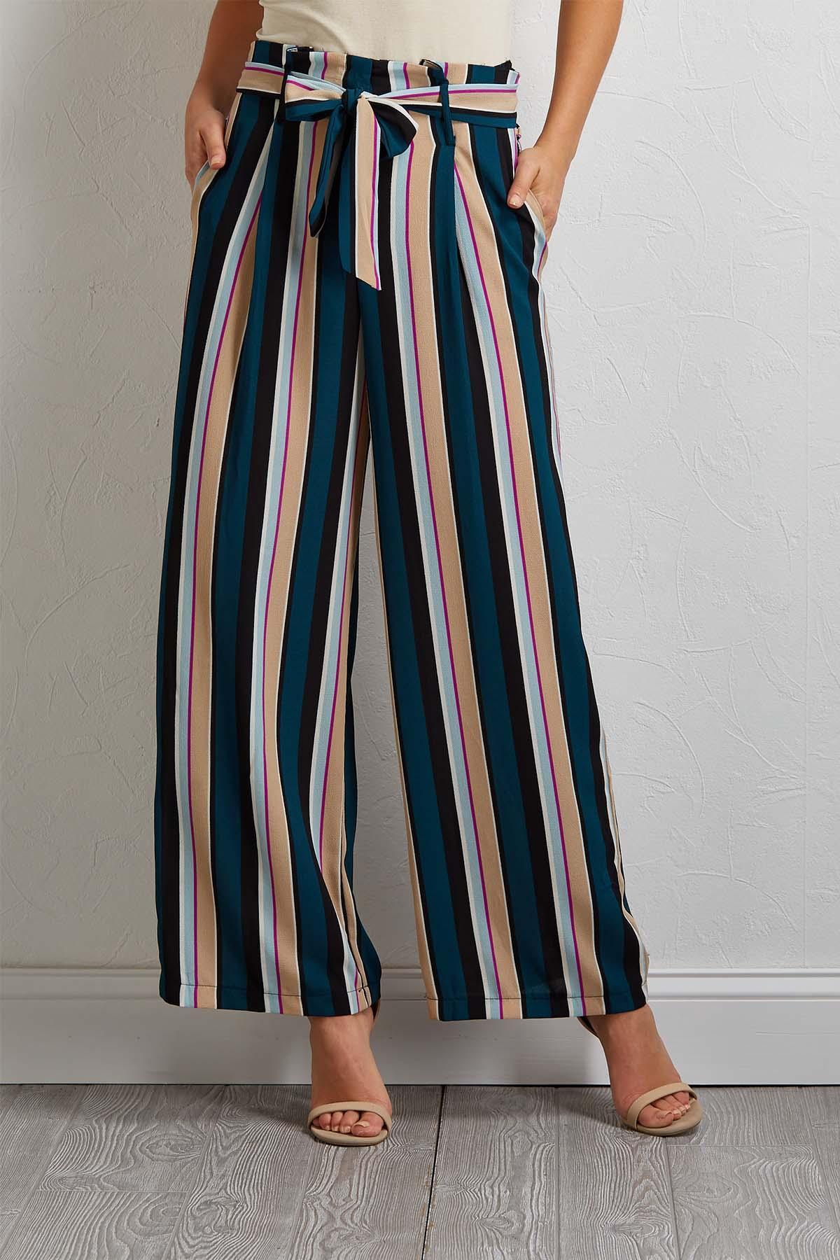 Belted Stripe Wide Leg Pants