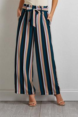 belted stripe wide leg pants