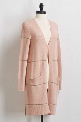 brushed lurex cardigan sweater
