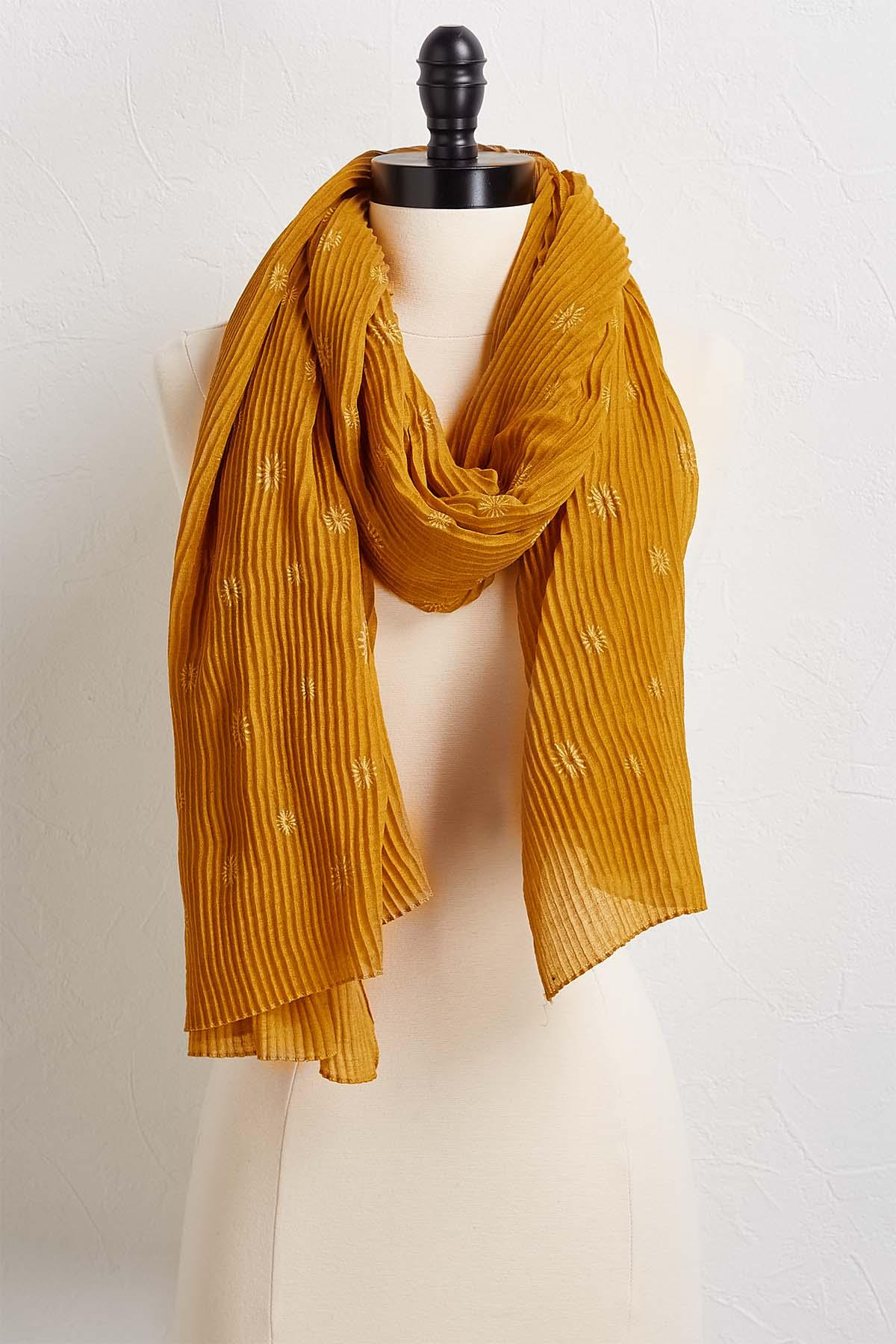 Floral Ribbed Scarf