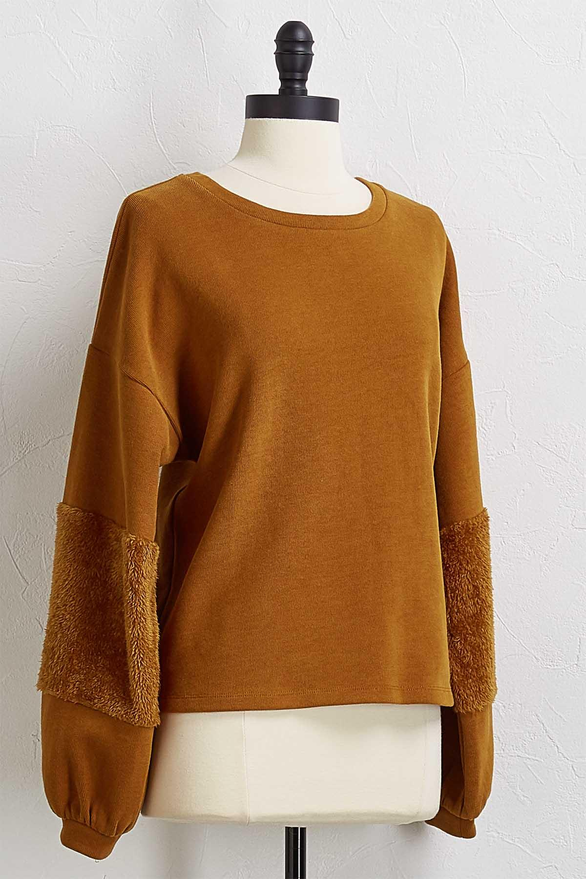 Faux Fur Sleeve Sweatshirt