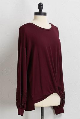 knotted lace sleeve top