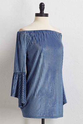 velvet shadow stripe top