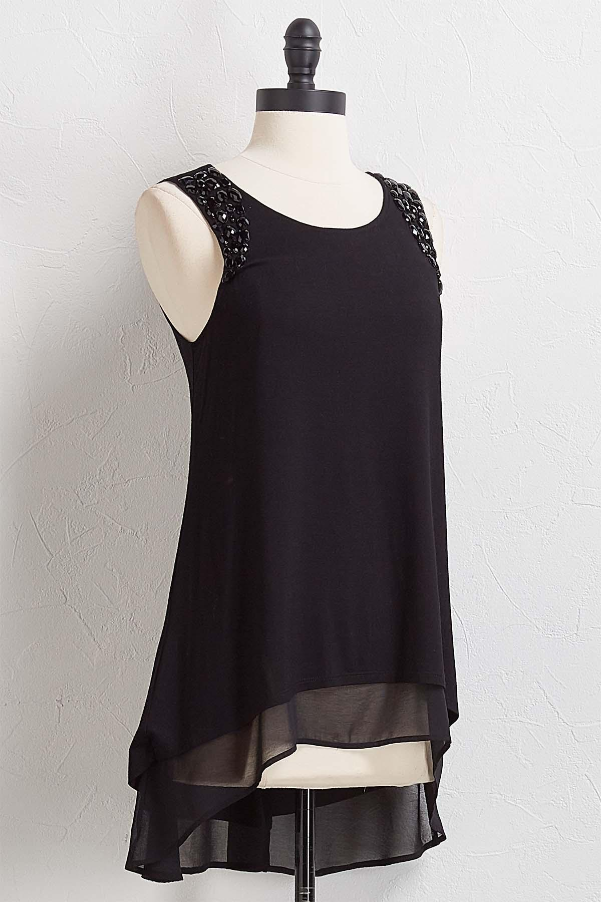Jeweled Chiffon Hem Tunic