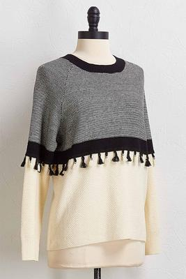 contrast tassel trim sweater