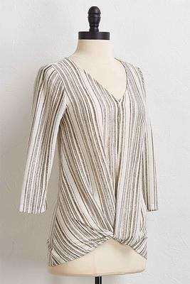 green twisted stripe hacci top
