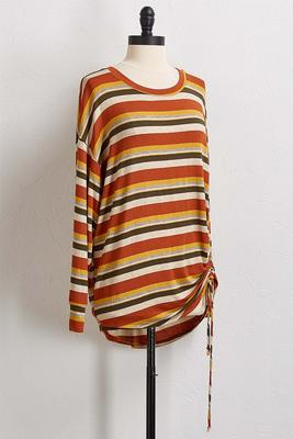 cinched rust stripe top