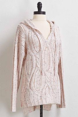 speckled hooded sweater