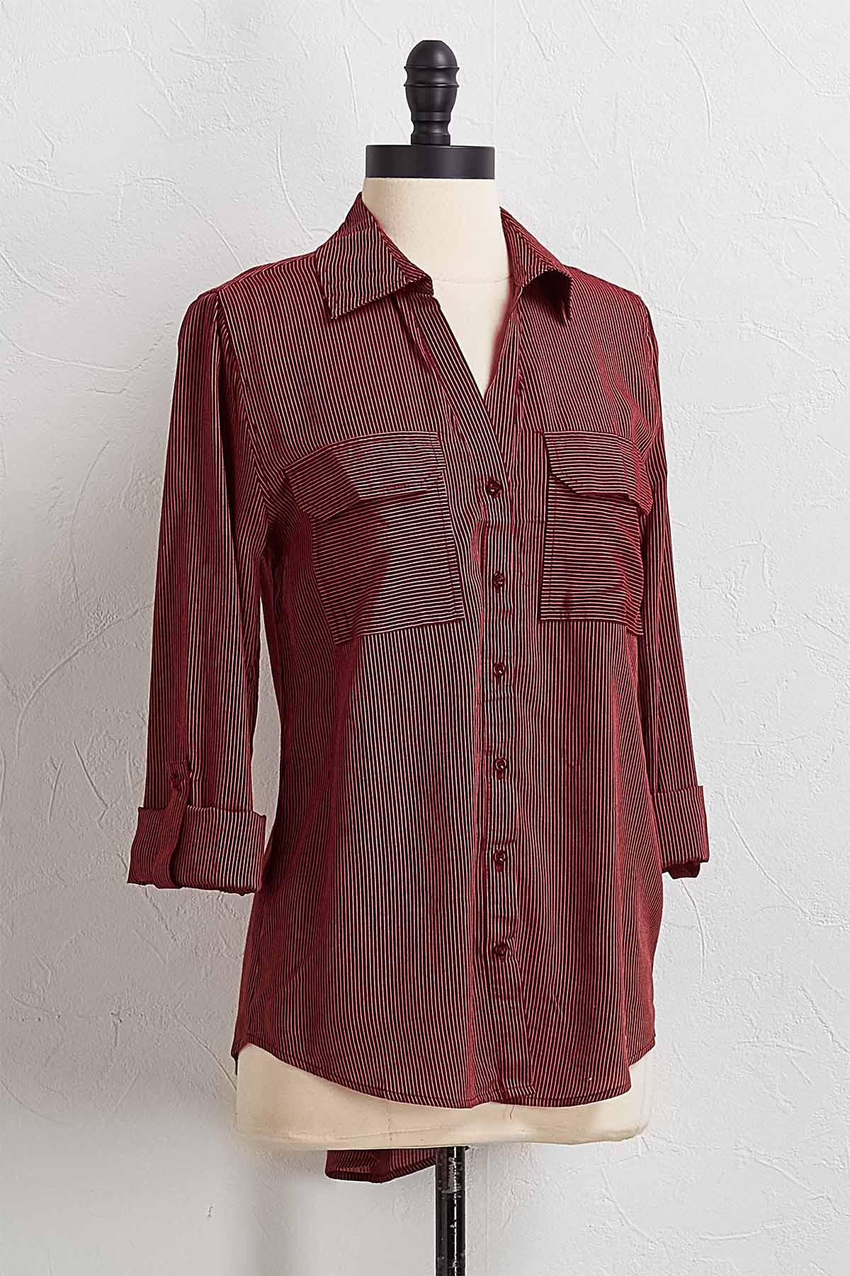 Wine Stripe Button Down Shirt