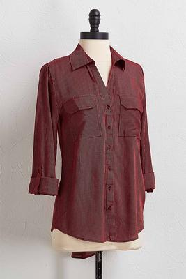 wine stripe button down shirt