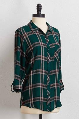 green plaid button down shirt