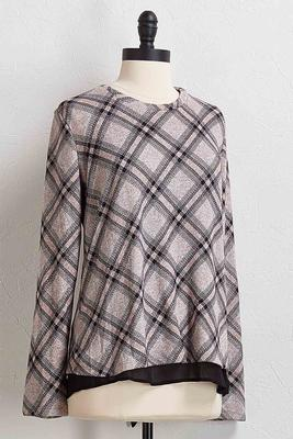 layered plaid hacci top