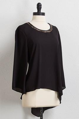jeweled asymmetrical hem top
