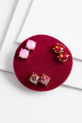 sparkling stud earrings set