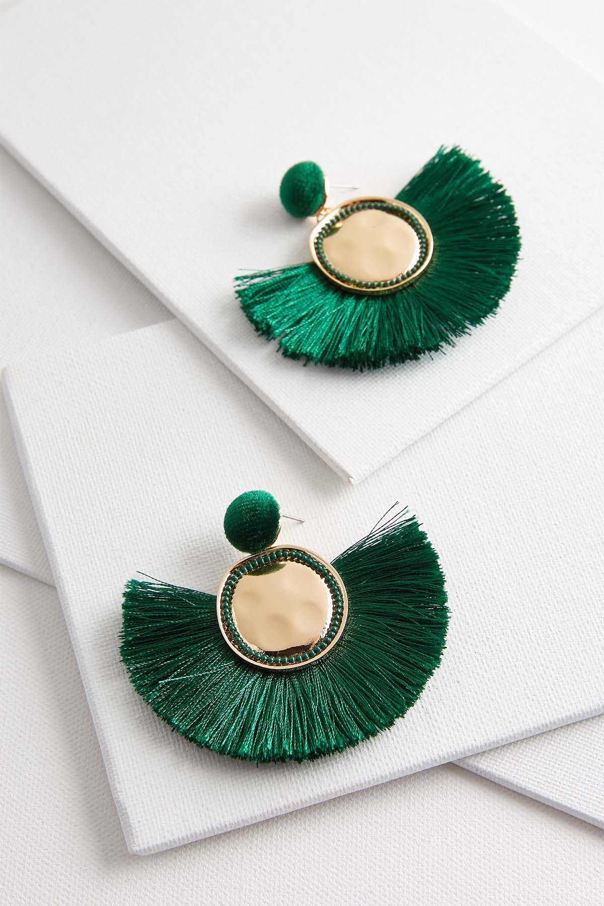 Velvet Post Tassel Earrings