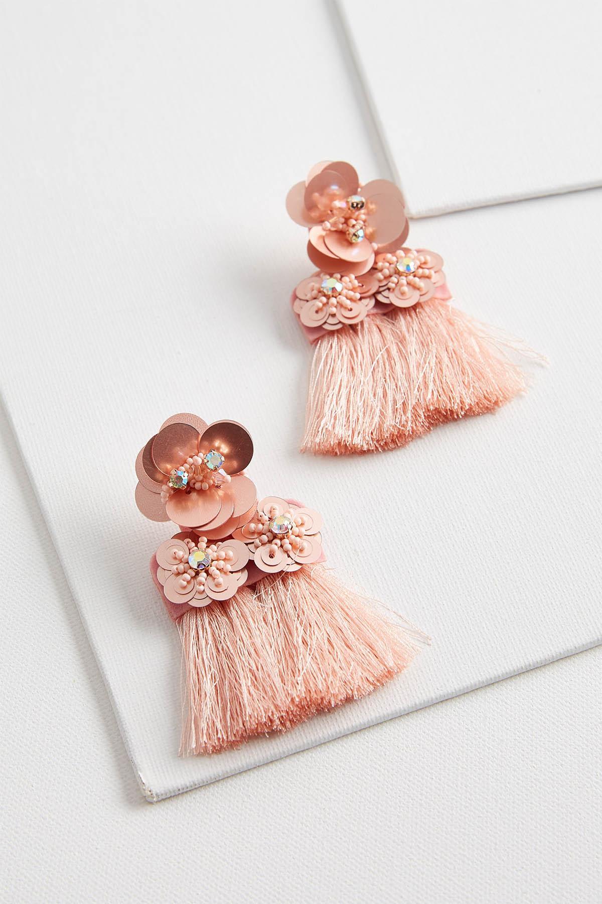 Sequin Flower And Tassel Earrings