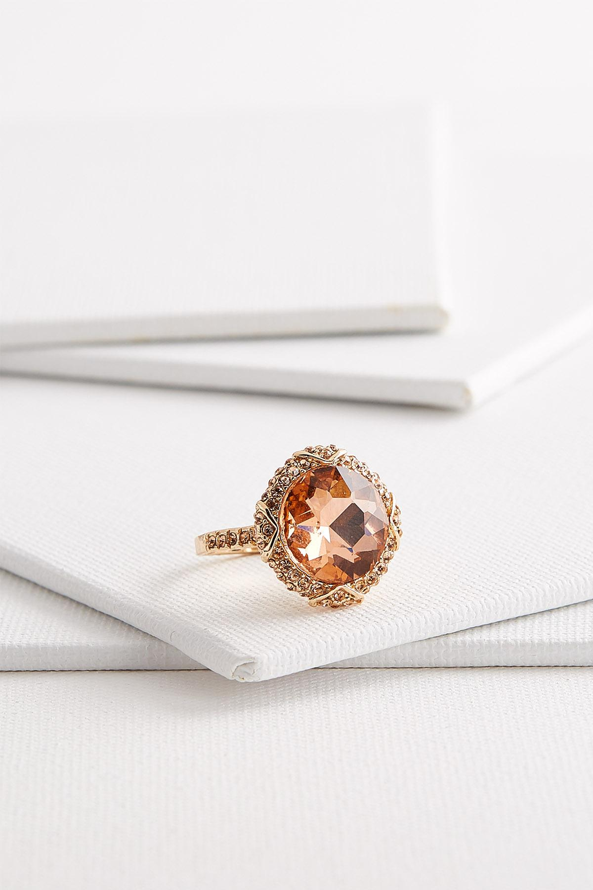 Glimmering Peach Cocktail Ring