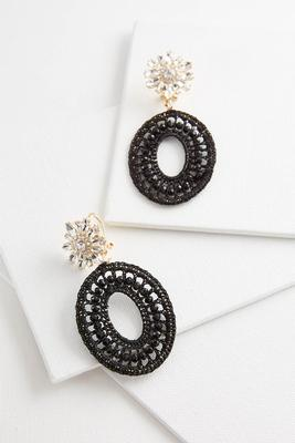 jeweled crochet medallion earrings
