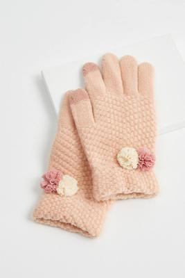 pom-pom knit gloves