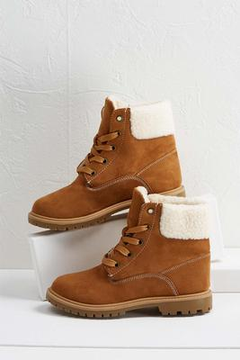 shearling combat boots