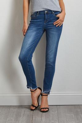 double frayed hem jeans