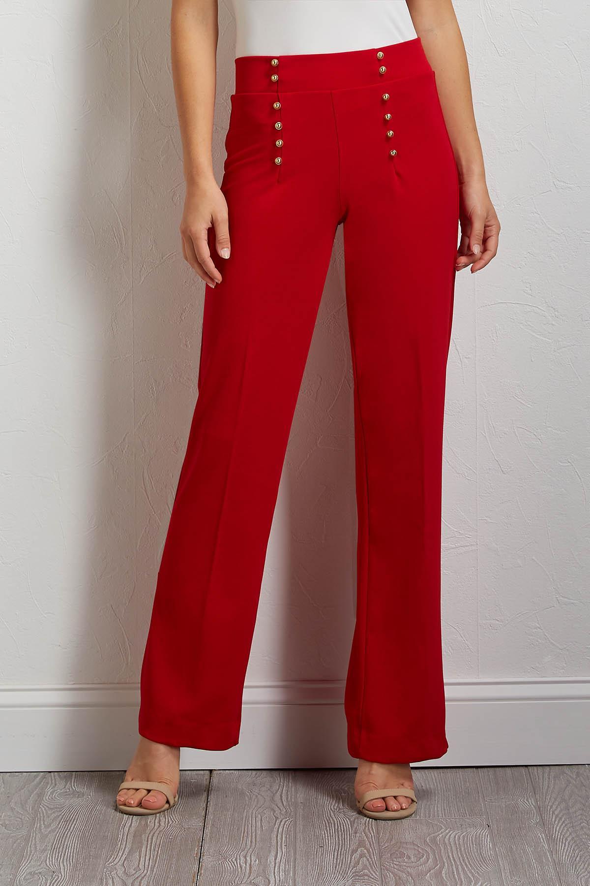 Button Wide Leg Pants