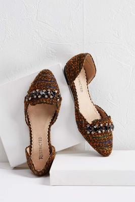 jeweled tweed flats