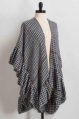 houndstooth ruffled ruana