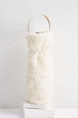 glam faux fur wine bag