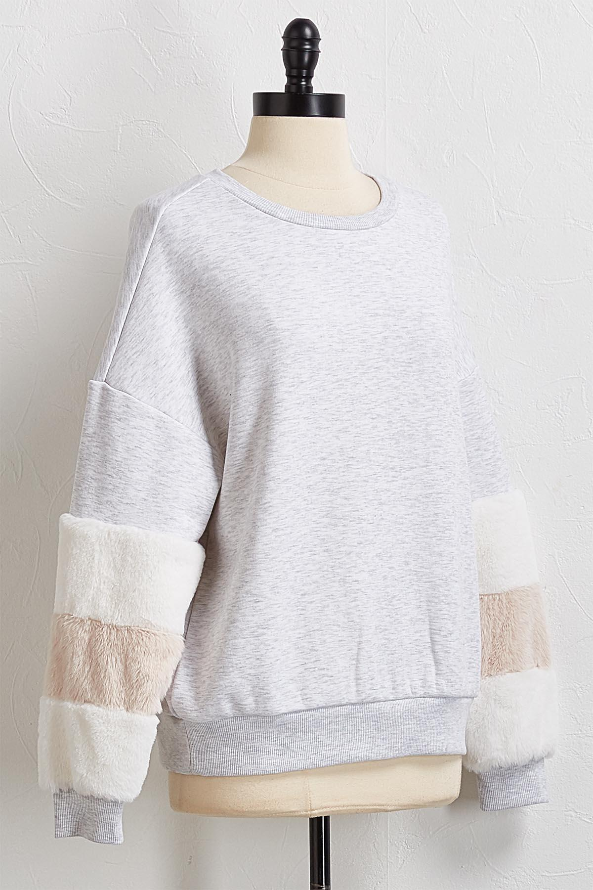 Gray Faux Fur Sleeve Sweatshirt