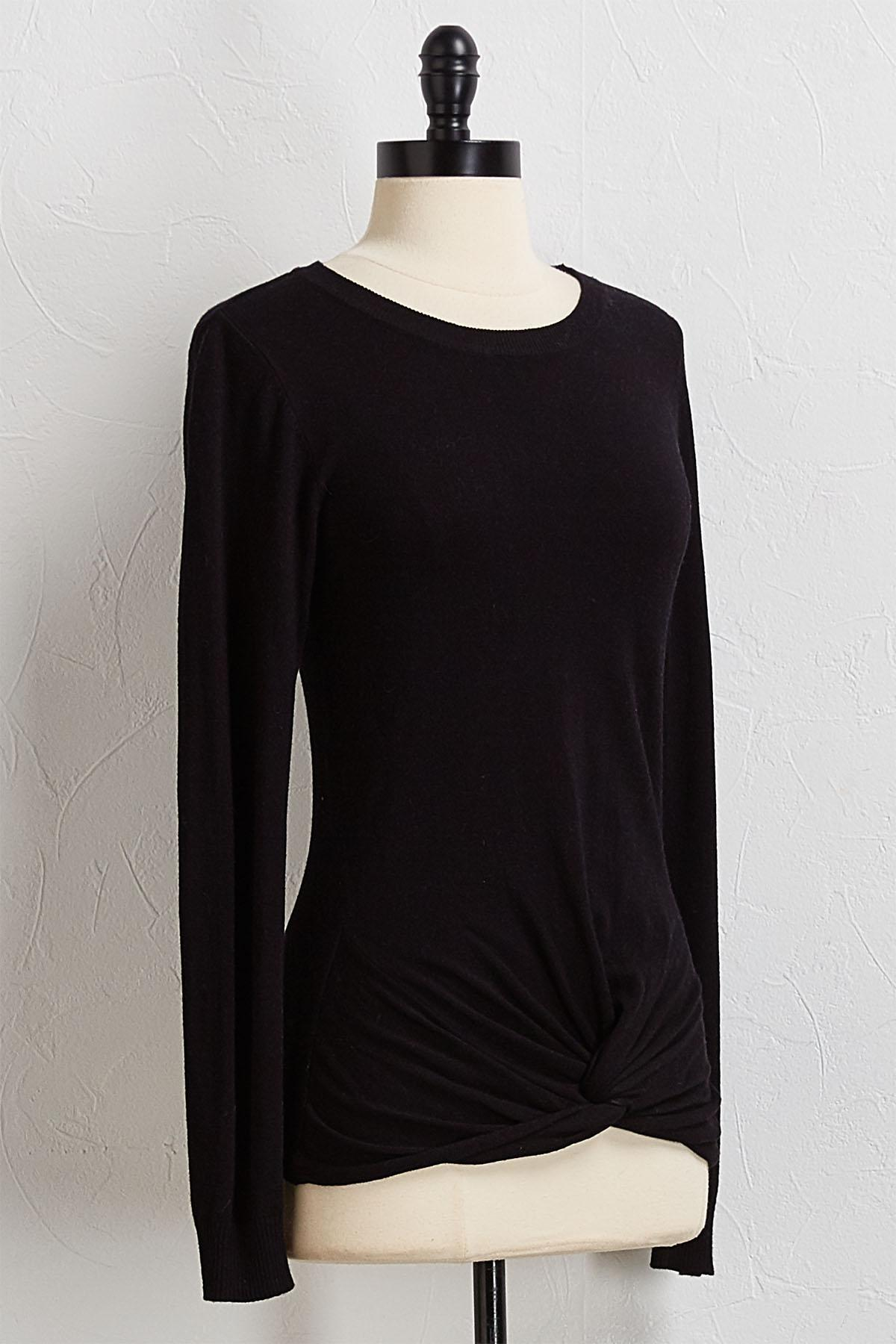 Solid Knotted Hem Sweater
