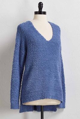 fuzzy lattice back sweater