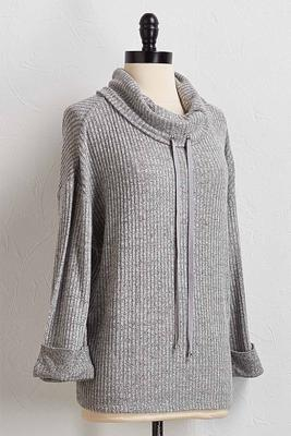 ribbed cowl neck top