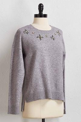 jeweled pullover sweater