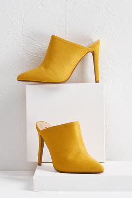 faux suede mule heels