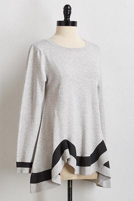 colorblock hanky hem sweater