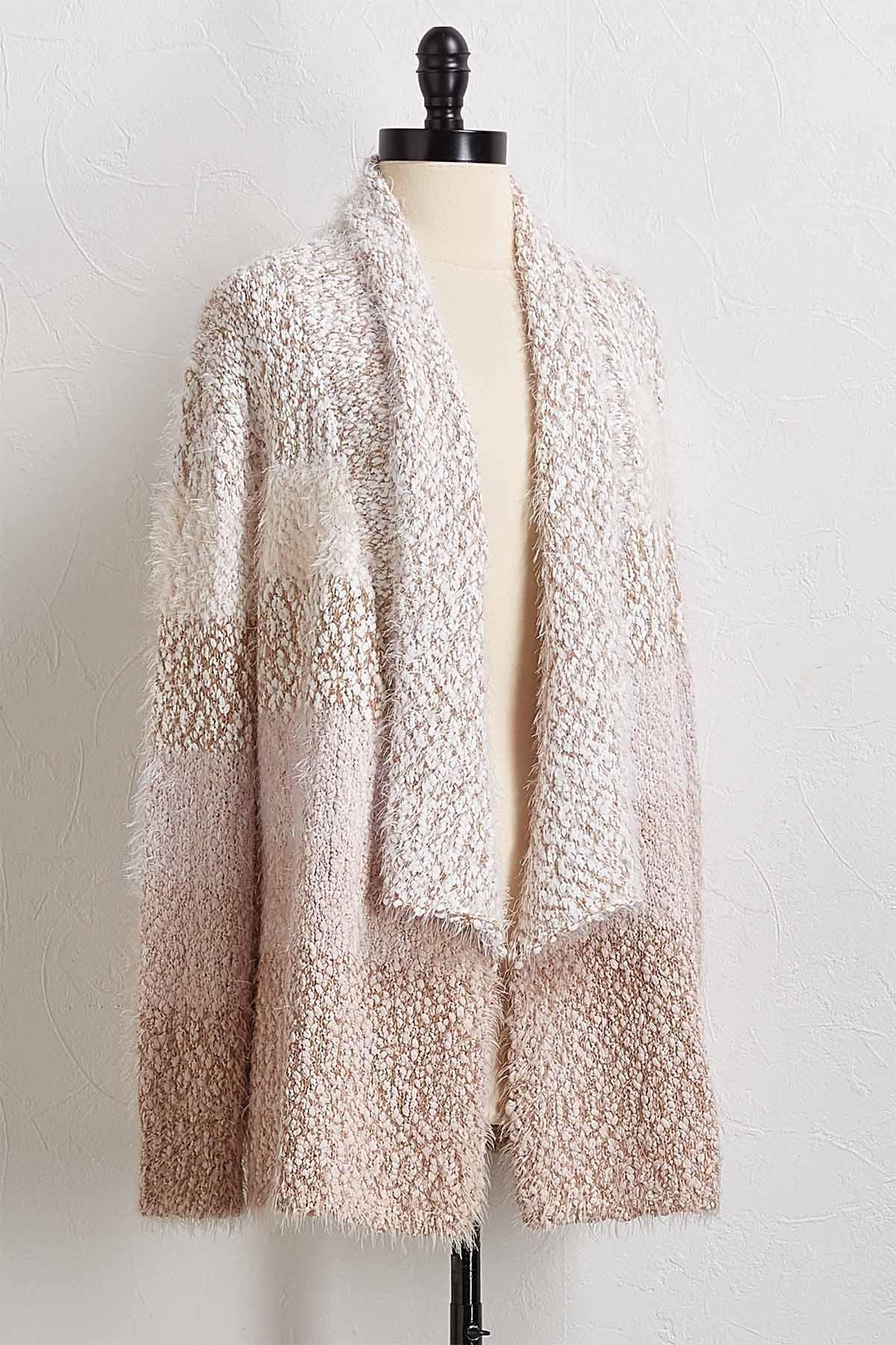 Colorblock Eyelash Knit Cardigan