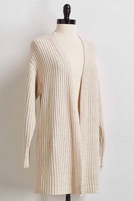 shimmering chenille cardigan sweater